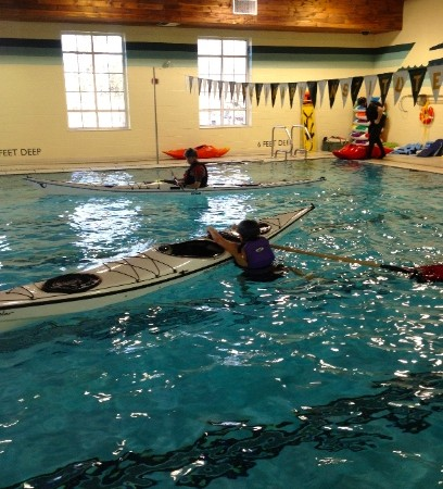 Practicing with a paddle float.