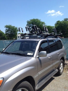 4 Kayak Cartop System Stowed